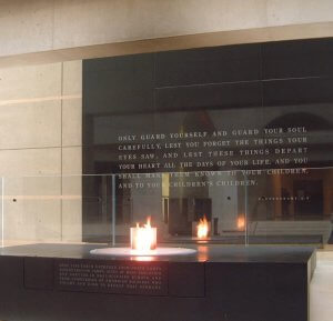 THE ETERNAL FLAME IN THE HALL OF REMEMBRANCE AT THE US HOLOCAUST MEMORIAL MUSEUM