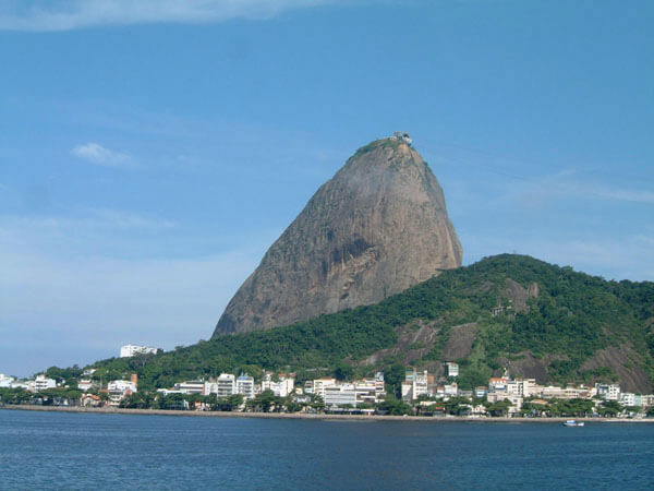 RIO'S SUGARLOAF MOUNTAIN seen from cruise ship sailing around the world