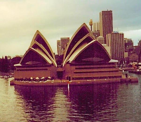 Sydney Opera House from cruise ship sailing around the world
