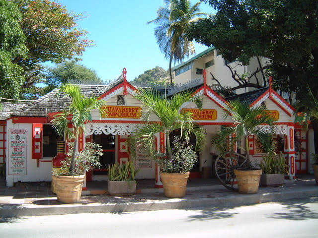 The Guavaberry Emporium shop with gingerbread style architecture in St Maarten St Martin