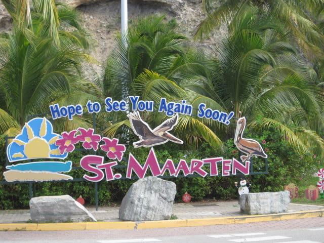 Goodbye Sign in St Maarten St Martin that reads Hope to See You Again Soon!