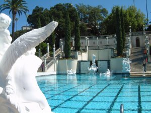 Photograph taken from behind a statue at the Neptune Pool at Hearst Castle. Wouldn't you like to take a dip here during your California Roadtrip?