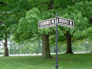 Road signs honoring the fallen presidents at Arlington, they read Eisenhower Dr. and Roosevelt Dr.