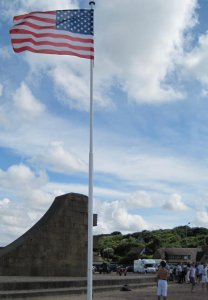 US Flag at Ohama Beach is one way of honoring the fallen