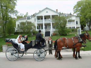 Couple in carriage being delivered to wedding venue