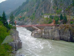 Great View from a train of Hell's Gate in the Canadian Rockies